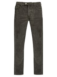 Helbers Slim Leg Cotton Blend Corduroy Trousers Grey