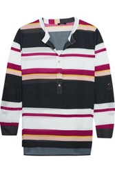 Raoul Holiday Striped Georgette Blouse Black