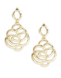 Oscar De La Renta Goldtone Hammered Metal Rose Drop Earrings
