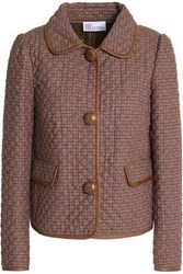 Red Valentino Faux Leather Trimmed Houndstooth Woven Jacket Light Brown
