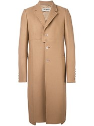 Off White Patched Single Breasted Coat Nude And Neutrals