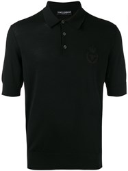 Dolce And Gabbana Embroidered Logo Polo Shirt Black