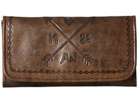 American West Cross My Heart Trifold Wallet Distressed Charcoal Brown Chestnut Brown Wallet Handbags