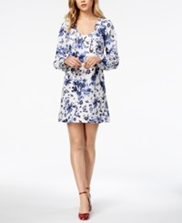 Kensie Wedgewood Floral Print Shift Dress French Vanilla Combo