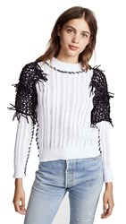 M.Patmos Star Finch Fringed Crew Sweater White Black