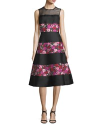 Kate Spade Sleeveless Salon Rose Palma Fit And Flare Dress Black