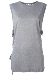 Helmut Lang Lace Up Laterals Sleeveless T Shirt Grey