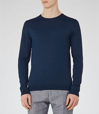 Reiss Sardinia Mens Lightweight Crew Neck Jumper In Blue