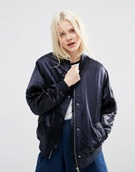 Asos Luxe Bomber Jacket In Satin Navy