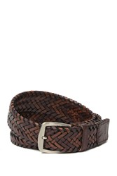Tommy Bahama 35Mm Genuine Woven Leather Tubular Belt Brown