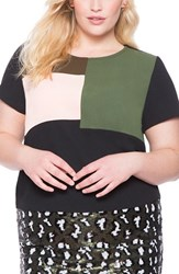 Plus Size Women's Eloquii Colorblock Crepe Tee