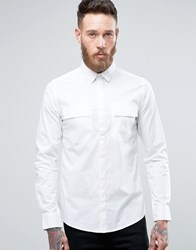 Only And Sons Skinny Smart Military Shirt White
