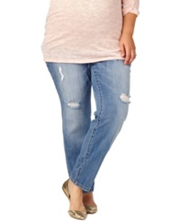 Motherhood Maternity Plus Size Distressed Skinny Jeans Bright Blue Wash