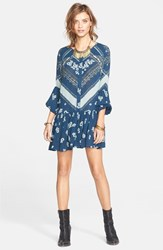 Women's Free People 'From Your Heart' Print Dress Peacock Combo