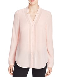 Finity Sheer Inset Button Down Shirt Pink