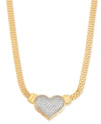 Macy's Diamond Heart Pendant Necklace 1 2 Ct. T.W. In 14K Gold Over Sterling Silver