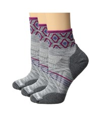 Smartwool Phd Outdoor Light Mini Pattern 3 Pack Light Gray Women's Crew Cut Socks Shoes