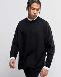 Asos Oversized Long Sleeve T Shirt With Printed Insert Turtle Neck Black