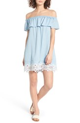 Fire Women's Love Embroidered Chambray Off The Shoulder Dress