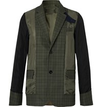 Sacai Slim Fit Shell Panelled Prince Of Wales Checked Cotton Jacket Green