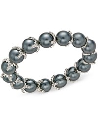 Charter Club Imitation Pearl And Crystal Stretch Bracelet Only At Macy's Silver
