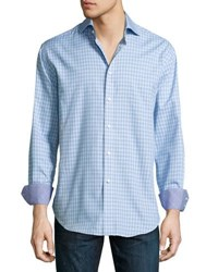 Neiman Marcus Long Sleeve Check Print Shirt Blue