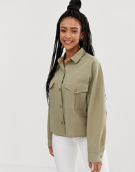 Pull And Bear Pullandbear Utility Shirt With Elasticated Hem In Green