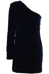 Rta Woman One Shoulder Embellished Velvet Mini Dress Navy