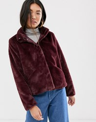 Only Faux Fur Jacket Red