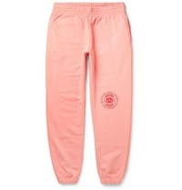 Martine Rose Tapered Logo Print Loopback Cotton Jersey Sweatpants Pink
