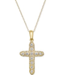 Macy's Diamond Cross Pendant Necklace 1 7 Ct. T.W. In 14K Gold Yellow Gold