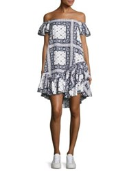 Cinq A Sept Minella Off The Shoulder Scarf Print Dress Navy Ivory