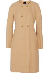 Derek Lam Double Breasted Wool Blend Boucle Coat Sand