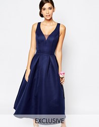 Chi Chi London Skater Midi Dress With Keyhole Back Detail Navy