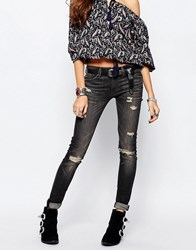 Denim And Supply Ralph Lauren Denim And Supply By Ralph Lauren Ripped Knee Skinny Jeans In Washed Black Black