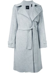 Theory Belted Single Breasted Coat Grey