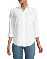 Dex Embroidered Back Button Front Shirt White