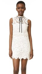 Self Portrait Watteau Mini Dress White Black