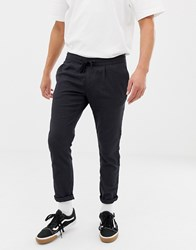 Tom Tailor Slim Fit Cropped Trousers In Pinstripe With Elasticated Waist Navy