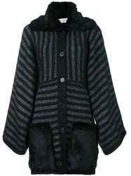 Sonia Rykiel Metallic Striped Mid Length Coat Black