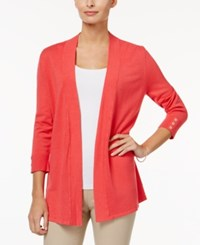 Charter Club Petite Honeycomb Stitch Open Front Cardigan Only At Macy's Crushed Coral