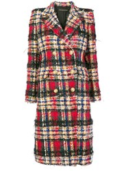 Alexandre Vauthier Oversized Check Coat Red