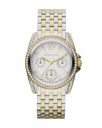 Michael Kors Mid Size Two Tone Stainless Steel Preseley Glitz Watch Gold