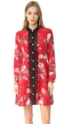 The Kooples Lace Front Floral Collar Dress Red