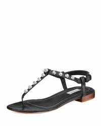 Balenciaga Studded Flat Leather T Strap Sandal Noir Black