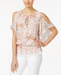 Eci Printed Cold Shoulder Peasant Blouse Tan Print