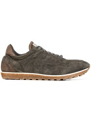 Alberto Fasciani Perforated Lace Up Sneakers Brown