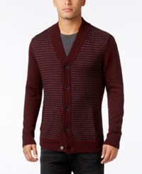 Alfani Men's Colorblocked Textured Cardigan Only At Macy's Red Velvet Combo