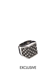 Reclaimed Vintage Square Signet Ring Silver