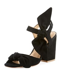 Bill Blass Cindy Knotted Suede Chunky Heel Sandals Black